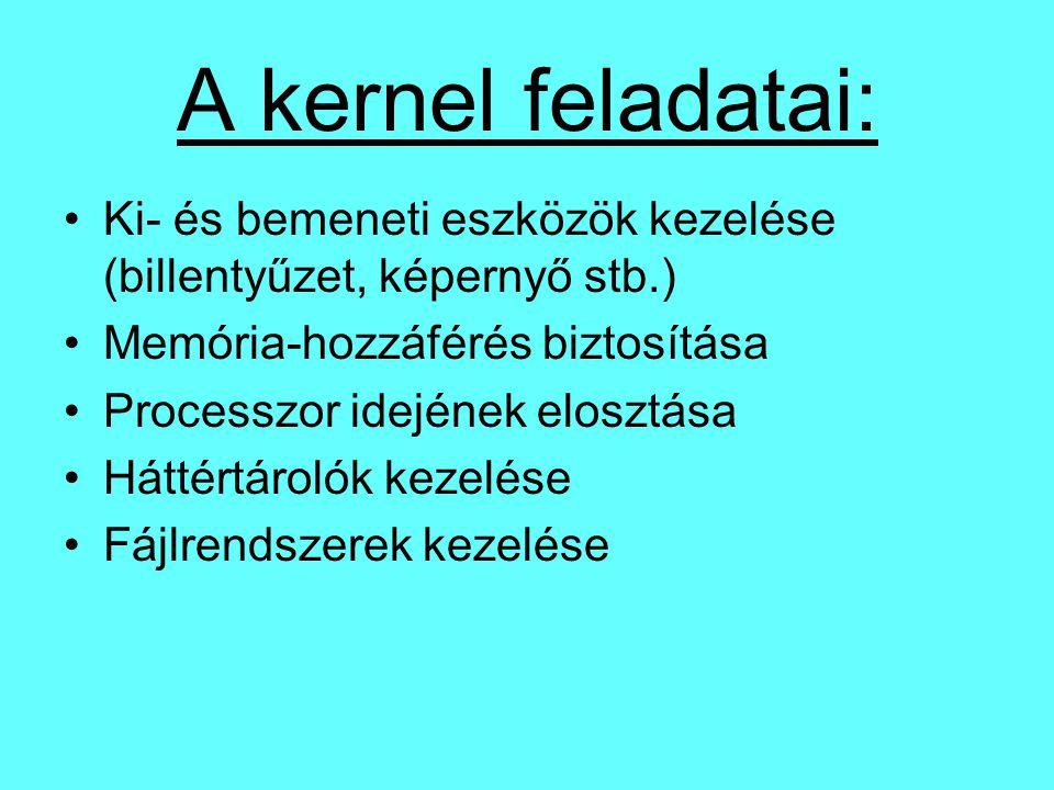 A kernel feladatai: Ki- és bemeneti eszközök kezelése (billentyűzet, képernyő stb.) Memória-hozzáférés biztosítása Processzor idejének elosztása Hátté