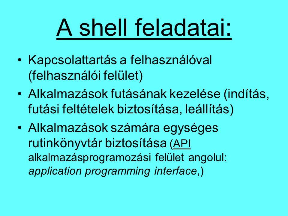 A shell feladatai: Kapcsolattartás a felhasználóval (felhasználói felület) Alkalmazások futásának kezelése (indítás, futási feltételek biztosítása, leállítás) Alkalmazások számára egységes rutinkönyvtár biztosítása (API alkalmazásprogramozási felület angolul: application programming interface,)