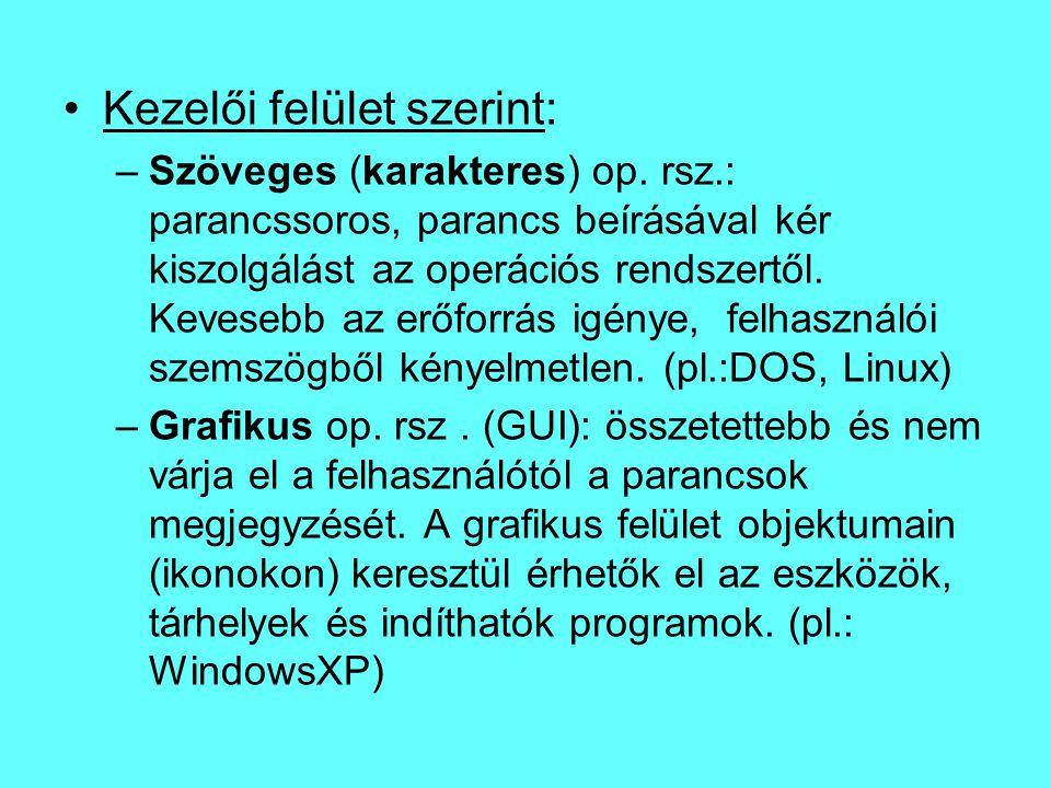 Kezelői felület szerint: –Szöveges (karakteres) op. rsz.: parancssoros, parancs beírásával kér kiszolgálást az operációs rendszertől. Kevesebb az erőf