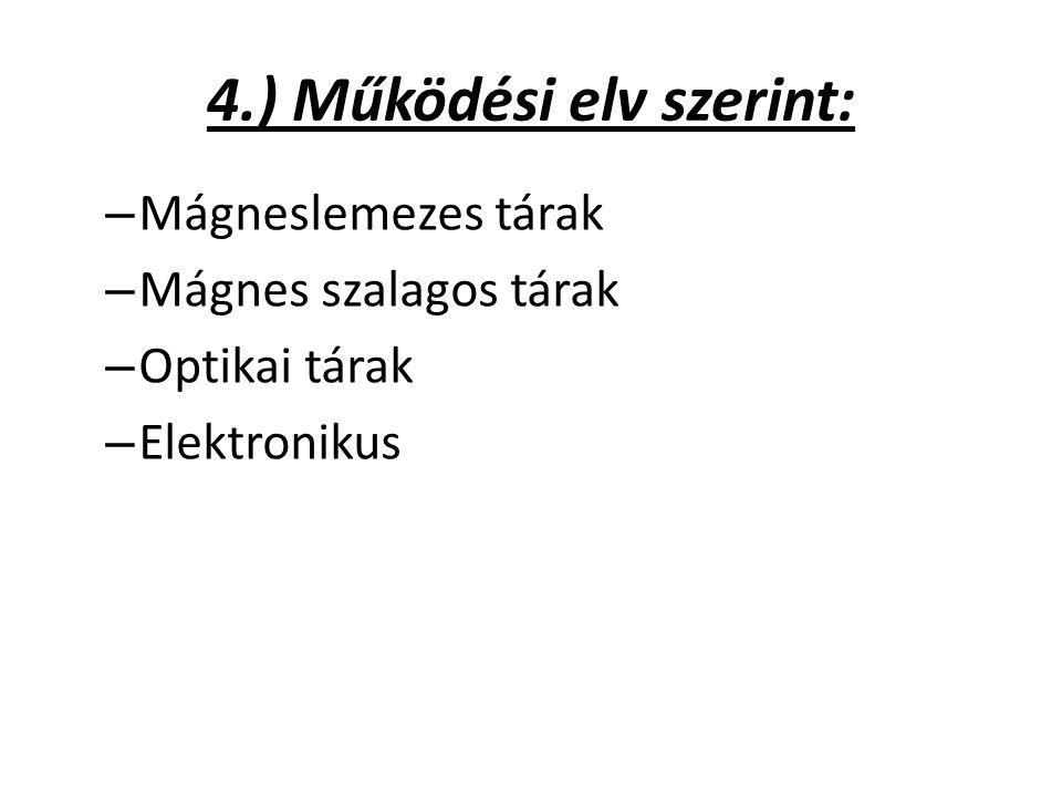 4.) Működési elv szerint: – Mágneslemezes tárak – Mágnes szalagos tárak – Optikai tárak – Elektronikus