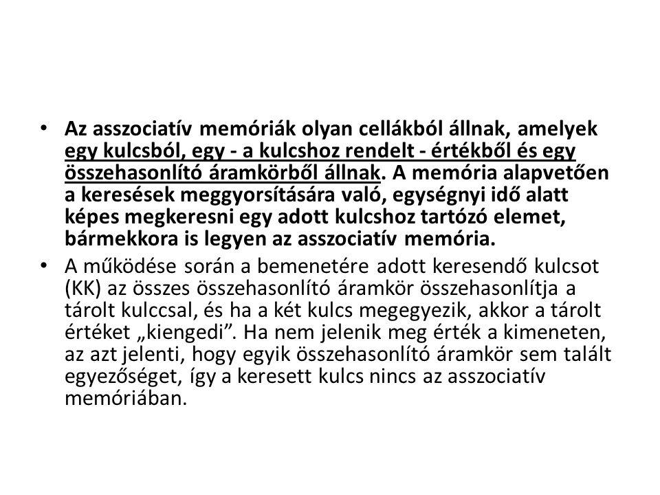 Az asszociatív memóriák olyan cellákból állnak, amelyek egy kulcsból, egy - a kulcshoz rendelt - értékből és egy összehasonlító áramkörből állnak. A m