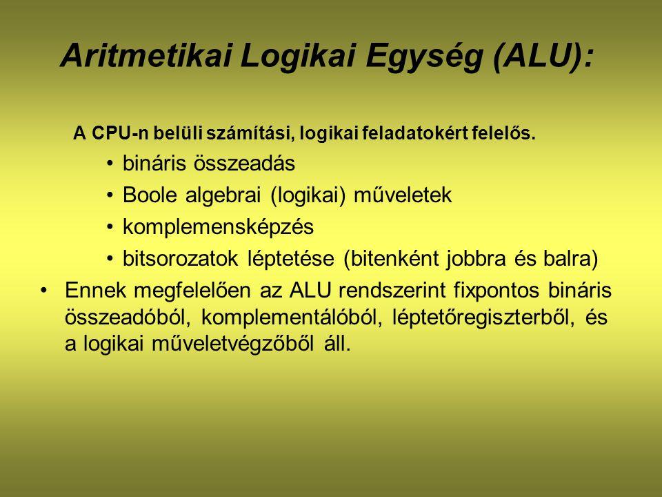 Aritmetikai Logikai Egység (ALU): A CPU-n belüli számítási, logikai feladatokért felelős. bináris összeadás Boole algebrai (logikai) műveletek komplem