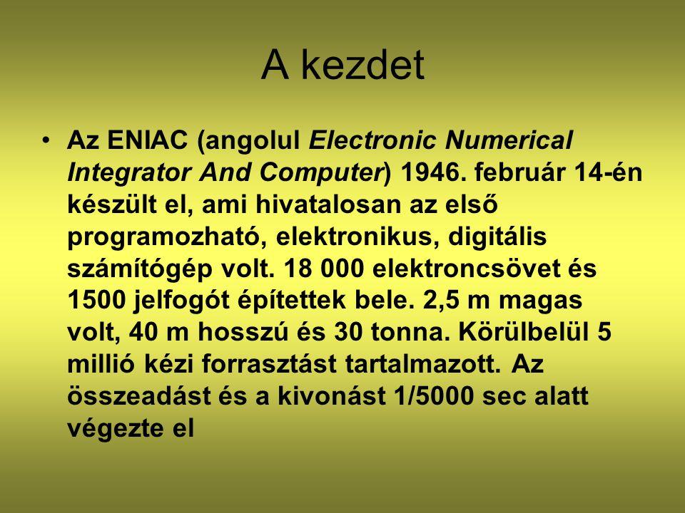 A kezdet Az ENIAC (angolul Electronic Numerical Integrator And Computer) 1946. február 14-én készült el, ami hivatalosan az első programozható, elektr