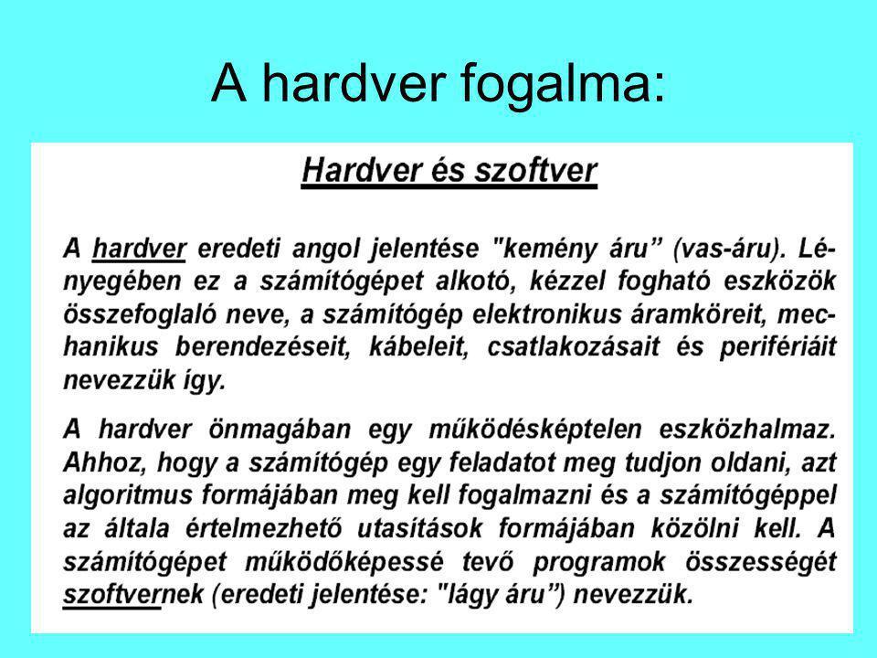 A hardver fogalma: