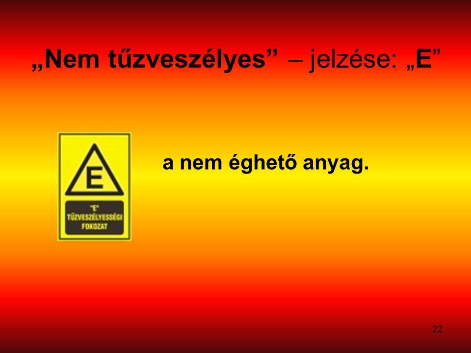 """22 """"Nem tűzveszélyes – jelzése: """"E a nem éghető anyag."""