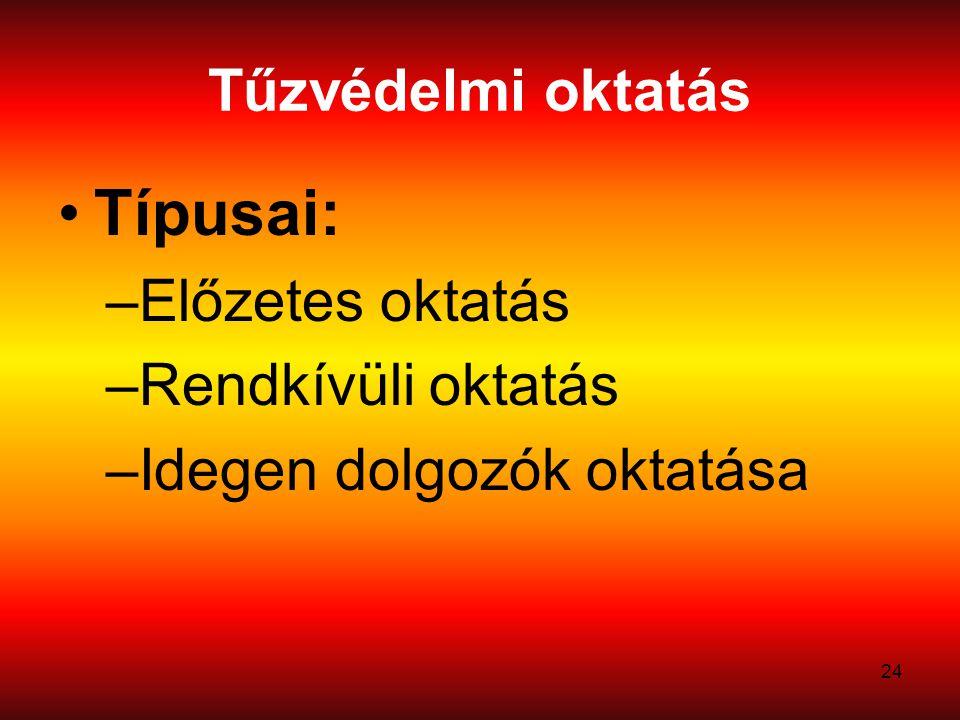 24 Tűzvédelmi oktatás Típusai: –Előzetes oktatás –Rendkívüli oktatás –Idegen dolgozók oktatása