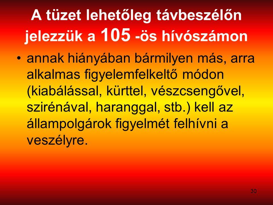 30 A tüzet lehetőleg távbeszélőn jelezzük a 105 -ös hívószámon annak hiányában bármilyen más, arra alkalmas figyelemfelkeltő módon (kiabálással, kürttel, vészcsengővel, szirénával, haranggal, stb.) kell az állampolgárok figyelmét felhívni a veszélyre.