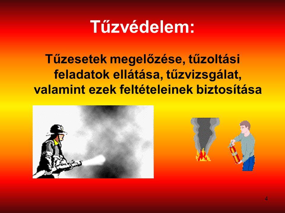 4 Tűzvédelem: Tűzesetek megelőzése, tűzoltási feladatok ellátása, tűzvizsgálat, valamint ezek feltételeinek biztosítása