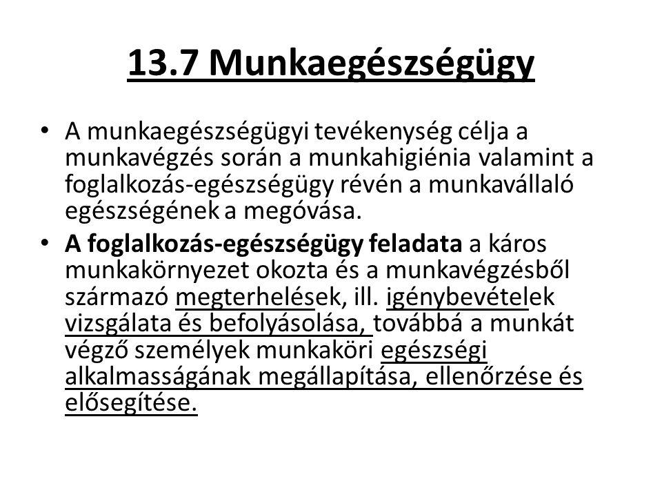 13.7 Munkaegészségügy A munkaegészségügyi tevékenység célja a munkavégzés során a munkahigiénia valamint a foglalkozás-egészségügy révén a munkavállal