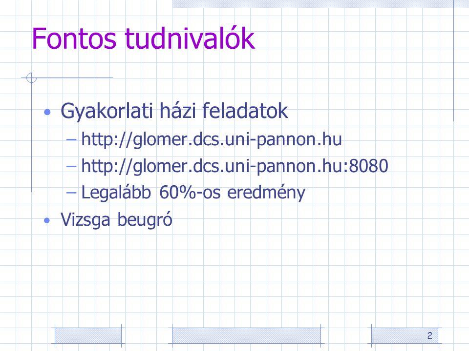 2 Fontos tudnivalók Gyakorlati házi feladatok –http://glomer.dcs.uni-pannon.hu –http://glomer.dcs.uni-pannon.hu:8080 –Legalább 60%-os eredmény Vizsga beugró