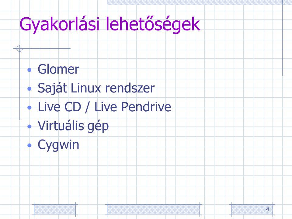 4 Gyakorlási lehetőségek Glomer Saját Linux rendszer Live CD / Live Pendrive Virtuális gép Cygwin