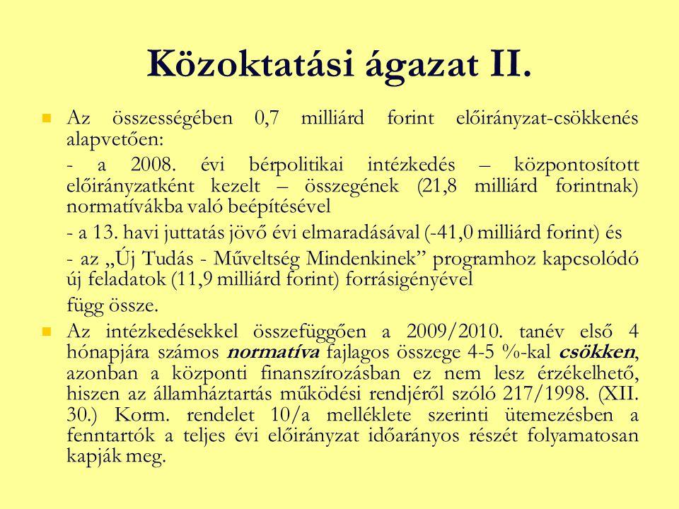 Közoktatási ágazat II.