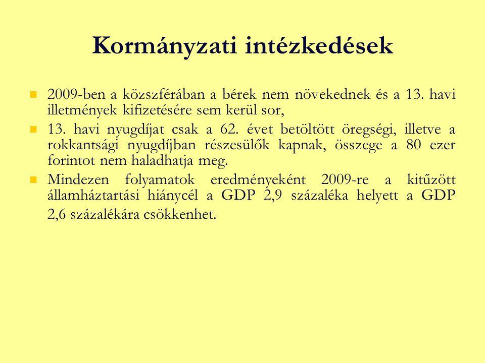 Kormányzati intézkedések 2009 ‑ ben a közszférában a bérek nem növekednek és a 13.