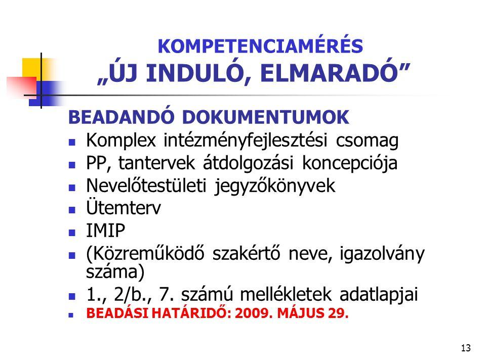 """13 KOMPETENCIAMÉRÉS """"ÚJ INDULÓ, ELMARADÓ"""" BEADANDÓ DOKUMENTUMOK Komplex intézményfejlesztési csomag PP, tantervek átdolgozási koncepciója Nevelőtestül"""