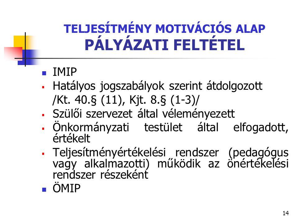 14 TELJESÍTMÉNY MOTIVÁCIÓS ALAP PÁLYÁZATI FELTÉTEL IMIP  Hatályos jogszabályok szerint átdolgozott /Kt. 40.§ (11), Kjt. 8.§ (1-3)/  Szülői szervezet