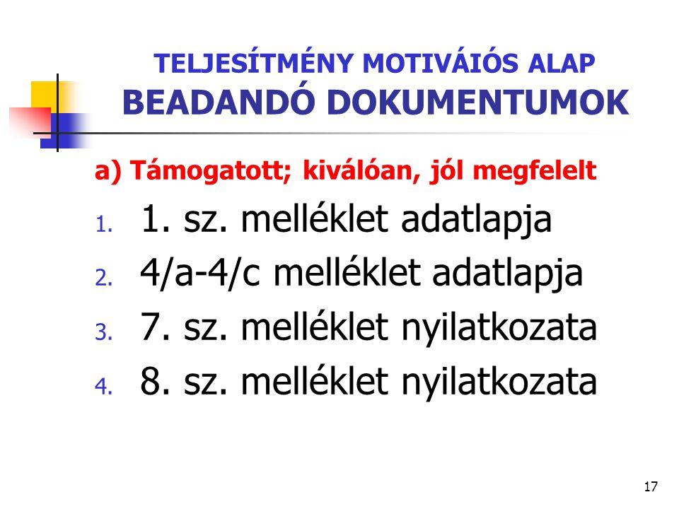 17 TELJESÍTMÉNY MOTIVÁIÓS ALAP BEADANDÓ DOKUMENTUMOK a) Támogatott; kiválóan, jól megfelelt 1. 1. sz. melléklet adatlapja 2. 4/a-4/c melléklet adatlap