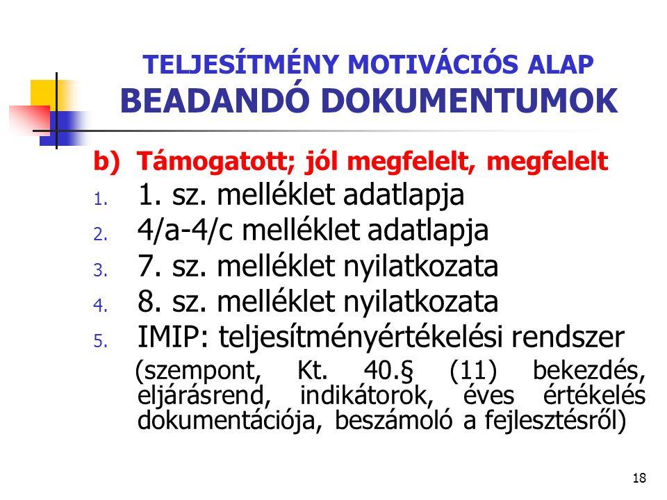 18 TELJESÍTMÉNY MOTIVÁCIÓS ALAP BEADANDÓ DOKUMENTUMOK b) Támogatott; jól megfelelt, megfelelt 1. 1. sz. melléklet adatlapja 2. 4/a-4/c melléklet adatl