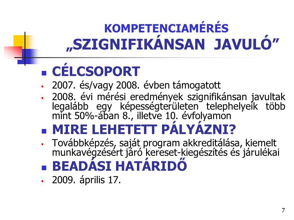 """7 KOMPETENCIAMÉRÉS """"SZIGNIFIKÁNSAN JAVULÓ"""" CÉLCSOPORT  2007. és/vagy 2008. évben támogatott  2008. évi mérési eredmények szignifikánsan javultak leg"""
