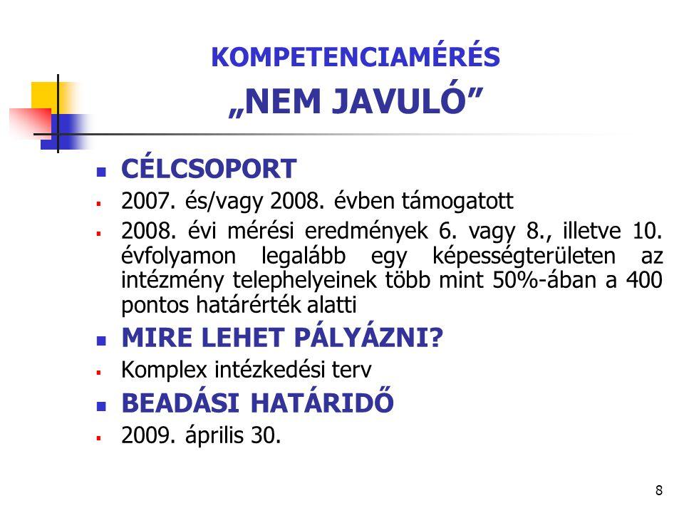 """8 KOMPETENCIAMÉRÉS """"NEM JAVULÓ"""" CÉLCSOPORT  2007. és/vagy 2008. évben támogatott  2008. évi mérési eredmények 6. vagy 8., illetve 10. évfolyamon leg"""