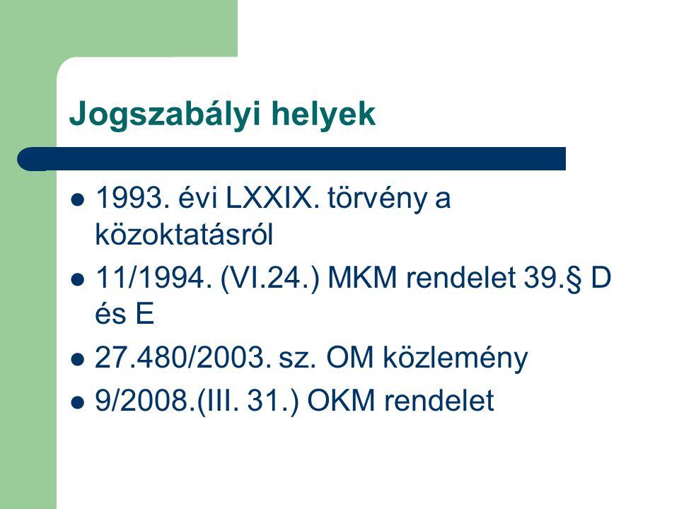 Jogszabályi helyek 1993. évi LXXIX. törvény a közoktatásról 11/1994.