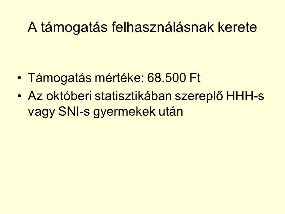 A támogatás felhasználásnak kerete Támogatás mértéke: 68.500 Ft Az októberi statisztikában szereplő HHH-s vagy SNI-s gyermekek után