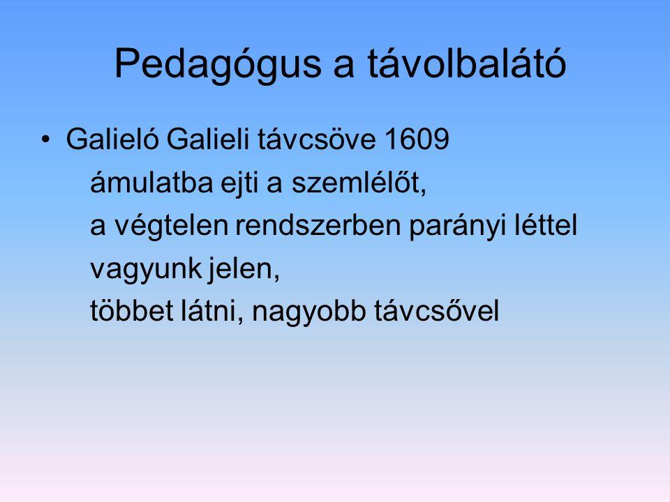 Pedagógus a távolbalátó Galieló Galieli távcsöve 1609 ámulatba ejti a szemlélőt, a végtelen rendszerben parányi léttel vagyunk jelen, többet látni, na