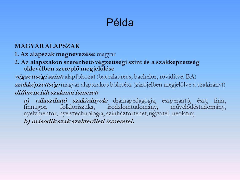 Példa MAGYAR ALAPSZAK 1. Az alapszak megnevezése: magyar 2. Az alapszakon szerezhető végzettségi szint és a szakképzettség oklevélben szereplő megjelö