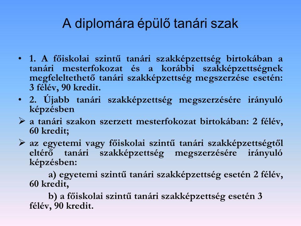 A diplomára épülő tanári szak 1. A főiskolai szintű tanári szakképzettség birtokában a tanári mesterfokozat és a korábbi szakképzettségnek megfeleltet