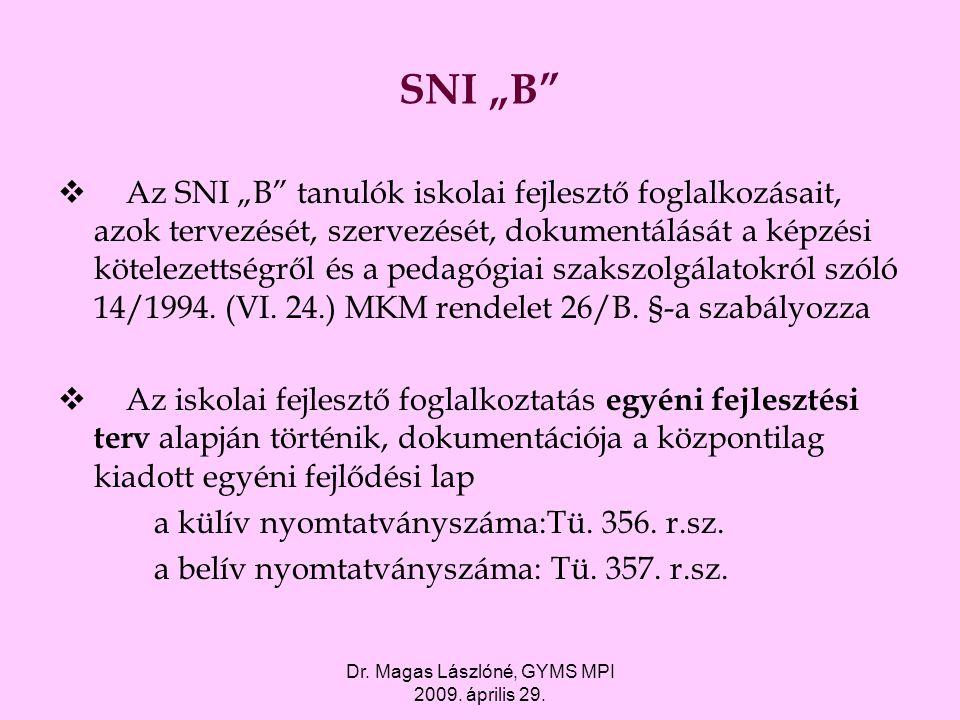 """Dr. Magas Lászlóné, GYMS MPI 2009. április 29. SNI """"B""""  Az SNI """"B"""" tanulók iskolai fejlesztő foglalkozásait, azok tervezését, szervezését, dokumentál"""
