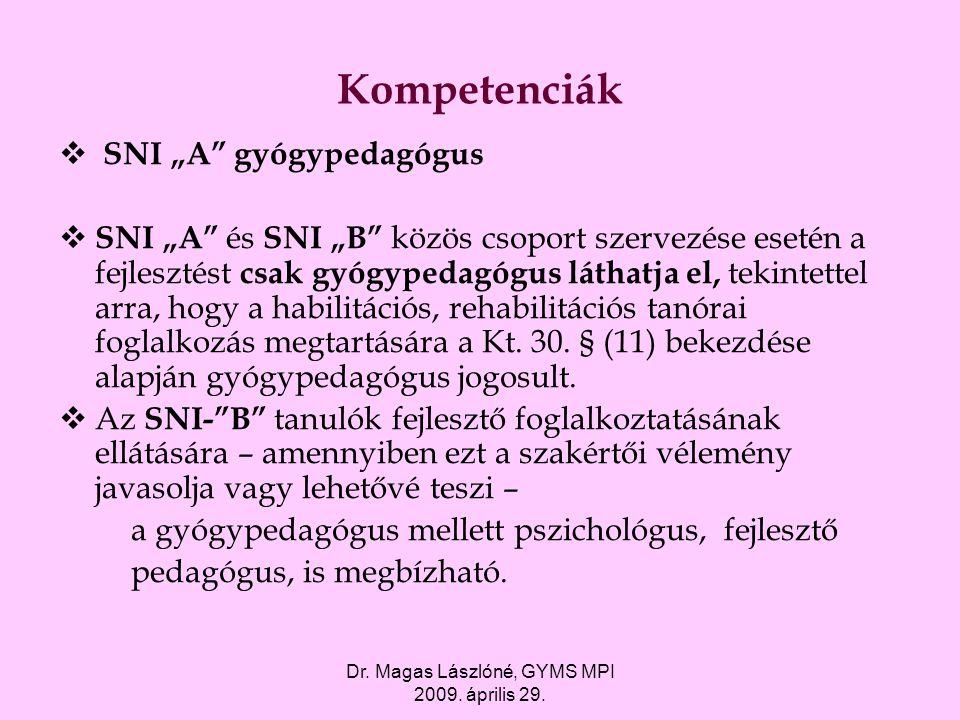 """Dr. Magas Lászlóné, GYMS MPI 2009. április 29. Kompetenciák  SNI """"A"""" gyógypedagógus  SNI """"A"""" és SNI """"B"""" közös csoport szervezése esetén a fejlesztés"""