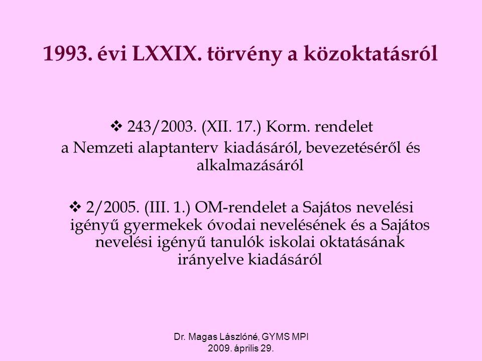Dr. Magas Lászlóné, GYMS MPI 2009. április 29. 1993. évi LXXIX. törvény a közoktatásról  243/2003. (XII. 17.) Korm. rendelet a Nemzeti alaptanterv ki