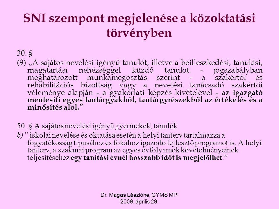 """Dr. Magas Lászlóné, GYMS MPI 2009. április 29. SNI szempont megjelenése a közoktatási törvényben 30. § (9) """"A sajátos nevelési igényű tanulót, illetve"""