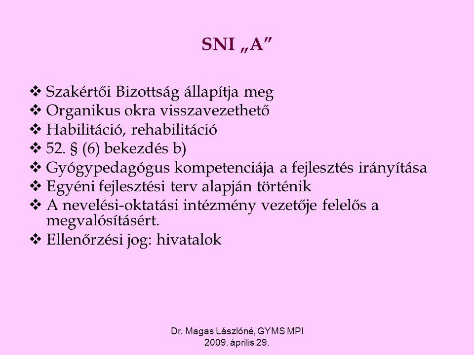 """Dr. Magas Lászlóné, GYMS MPI 2009. április 29. SNI """"A""""  Szakértői Bizottság állapítja meg  Organikus okra visszavezethető  Habilitáció, rehabilitác"""