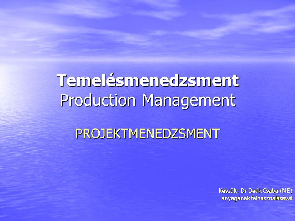 Temelésmenedzsment Production Management PROJEKTMENEDZSMENT Készült: Dr Deák Csaba (ME) Készült: Dr Deák Csaba (ME) anyagának felhasználásával