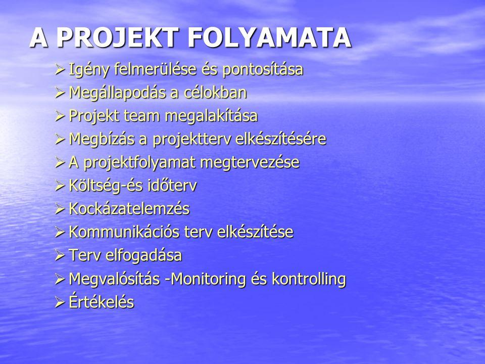 A PROJEKT FOLYAMATA  Igény felmerülése és pontosítása  Megállapodás a célokban  Projekt team megalakítása  Megbízás a projektterv elkészítésére 