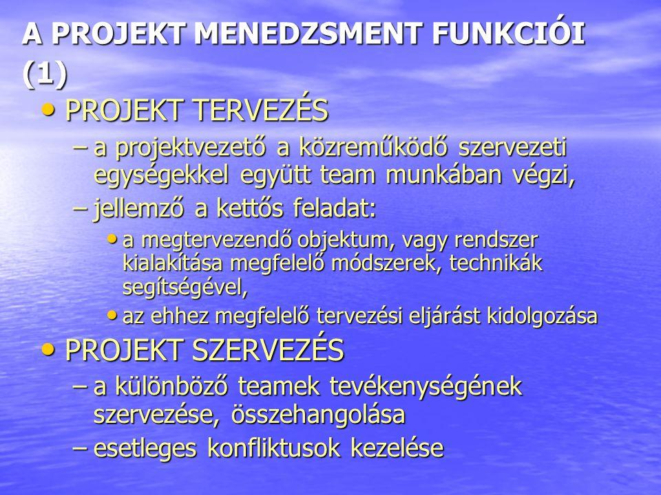 A PROJEKT MENEDZSMENT FUNKCIÓI (1) PROJEKT TERVEZÉS PROJEKT TERVEZÉS –a projektvezető a közreműködő szervezeti egységekkel együtt team munkában végzi, –jellemző a kettős feladat: a megtervezendő objektum, vagy rendszer kialakítása megfelelő módszerek, technikák segítségével, a megtervezendő objektum, vagy rendszer kialakítása megfelelő módszerek, technikák segítségével, az ehhez megfelelő tervezési eljárást kidolgozása az ehhez megfelelő tervezési eljárást kidolgozása PROJEKT SZERVEZÉS PROJEKT SZERVEZÉS –a különböző teamek tevékenységének szervezése, összehangolása –esetleges konfliktusok kezelése