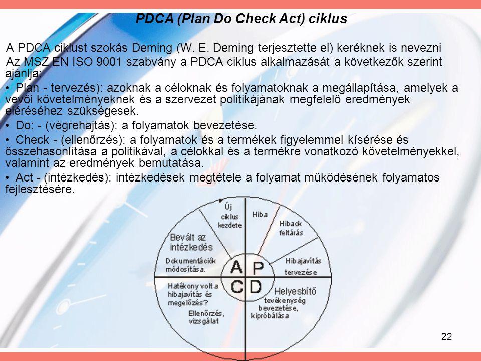 22 PDCA (Plan Do Check Act) ciklus A PDCA ciklust szokás Deming (W. E. Deming terjesztette el) keréknek is nevezni Az MSZ EN ISO 9001 szabvány a PDCA