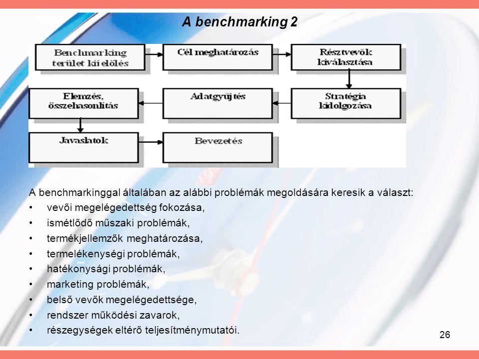 26 A benchmarking 2 A benchmarkinggal általában az alábbi problémák megoldására keresik a választ: vevői megelégedettség fokozása, ismétlődő műszaki p