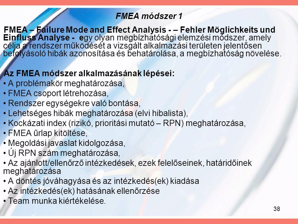 38 FMEA módszer 1 FMEA – Failure Mode and Effect Analysis - – Fehler Möglichkeits und Einfluss Analyse - egy olyan megbízhatósági elemzési módszer, am