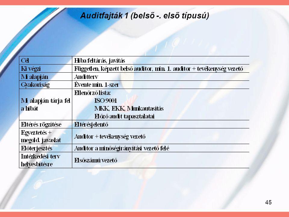 45 Auditfajták 1 (belső -. első típusú)