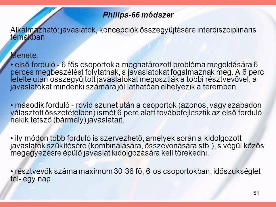 51 Philips-66 módszer Alkalmazható: javaslatok, koncepciók összegyűjtésére interdiszciplináris témákban Menete: első forduló - 6 fős csoportok a megha