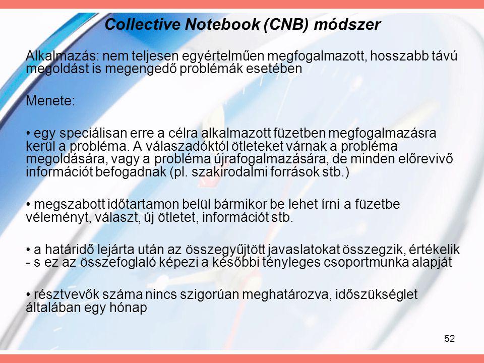52 Collective Notebook (CNB) módszer Alkalmazás: nem teljesen egyértelműen megfogalmazott, hosszabb távú megoldást is megengedő problémák esetében Men