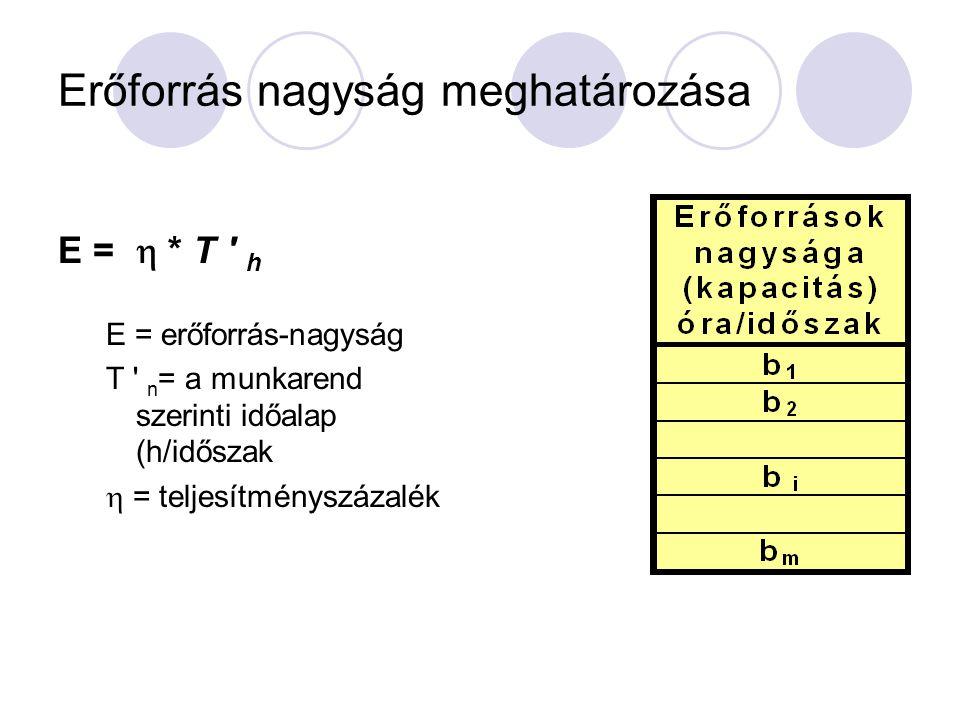 Az időalapok számítása Munkarend szerinti hasznos időalap T ' h =T ' n - t TMK (h/időszak) T ' n = a munkarend szerinti időalap (h/időszak) t TMK = a