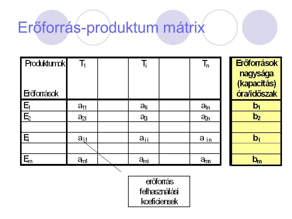 Erőforrás nagyság meghatározása E =  * T h E = erőforrás-nagyság T n = a munkarend szerinti időalap (h/időszak  = teljesítményszázalék