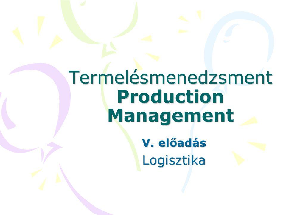 Termelésmenedzsment Production Management V. előadás Logisztika