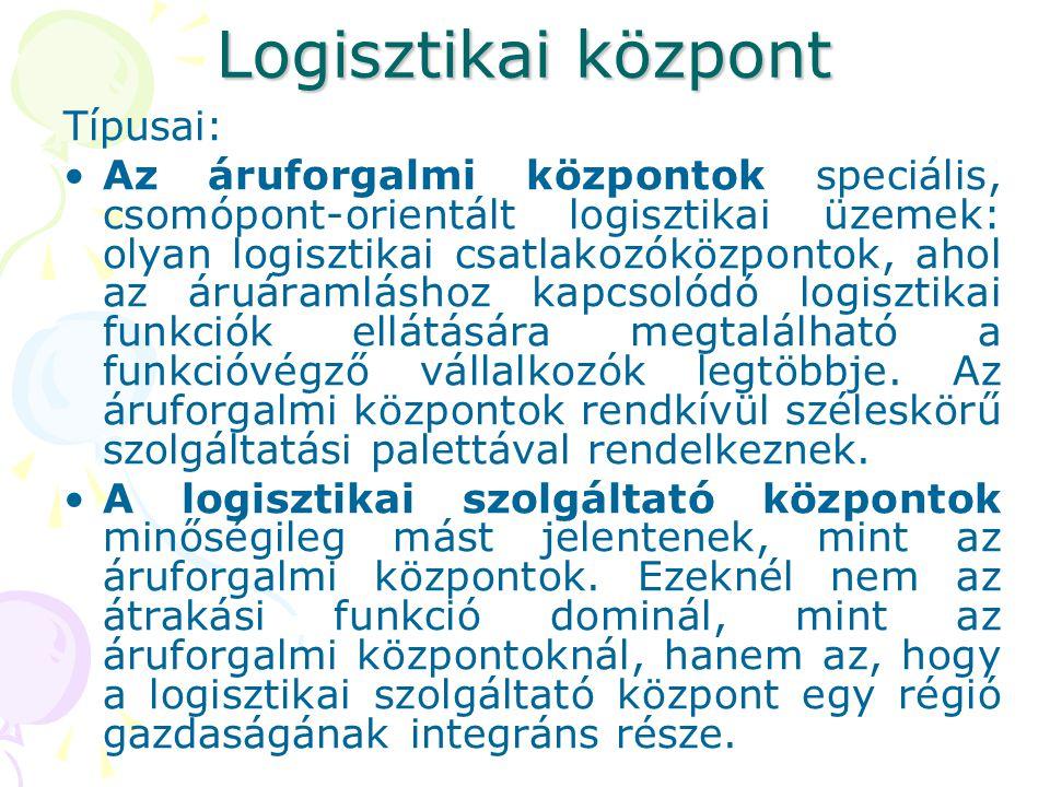 Logisztikai központ Típusai: Az áruforgalmi központok speciális, csomópont-orientált logisztikai üzemek: olyan logisztikai csatlakozóközpontok, ahol az áruáramláshoz kapcsolódó logisztikai funkciók ellátására megtalálható a funkcióvégző vállalkozók legtöbbje.