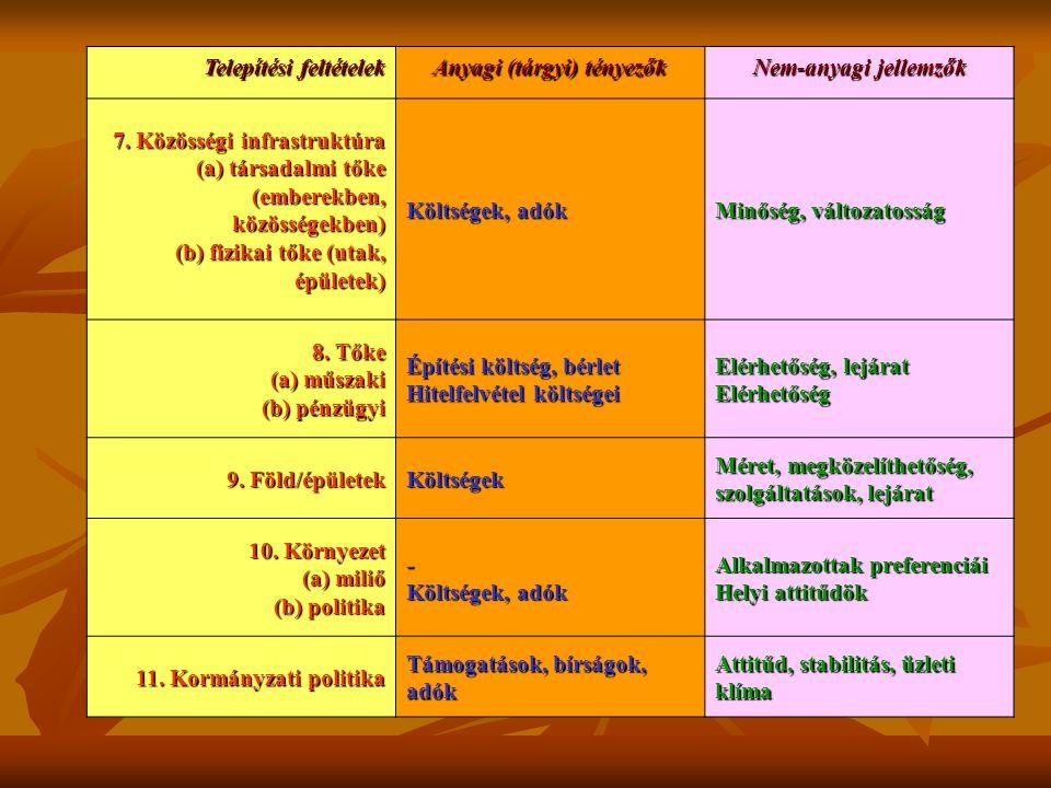 Telepítési feltételek Anyagi (tárgyi) tényezők Nem-anyagi jellemzők 7. Közösségi infrastruktúra (a) társadalmi tőke (emberekben, közösségekben) (b) fi