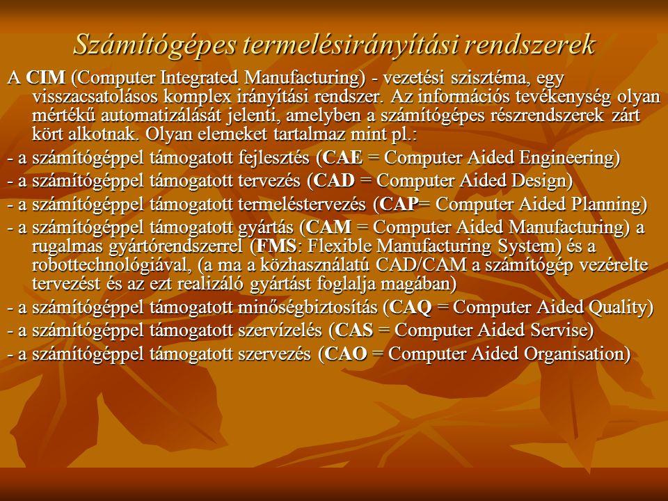 Számítógépes termelésirányítási rendszerek A CIM (Computer Integrated Manufacturing) - vezetési szisztéma, egy visszacsatolásos komplex irányítási rendszer.