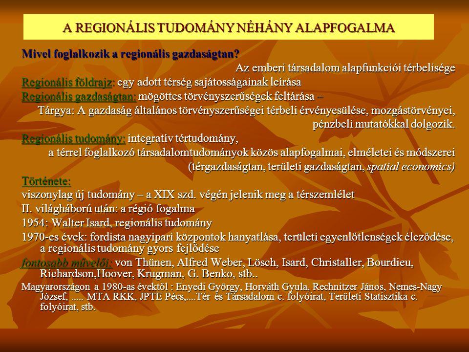 A REGIONÁLIS TUDOMÁNY NÉHÁNY ALAPFOGALMA Mivel foglalkozik a regionális gazdaságtan? Az emberi társadalom alapfunkciói térbelisége Regionális földrajz