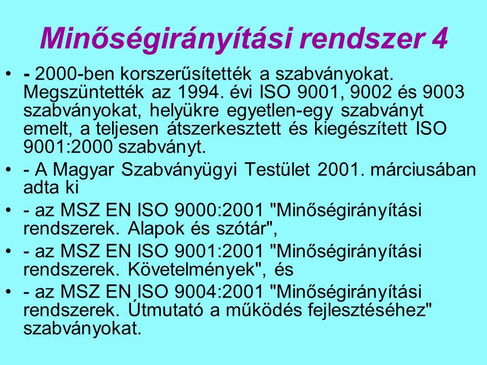 Minőségirányítási rendszer 4 - 2000-ben korszerűsítették a szabványokat.